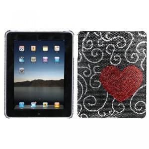 SIMフリー タブレット 端末 Hard Plastic Snap on Cover Fits Apple iPad Curve Heart Full DiamondRhinestone|sonicmarin