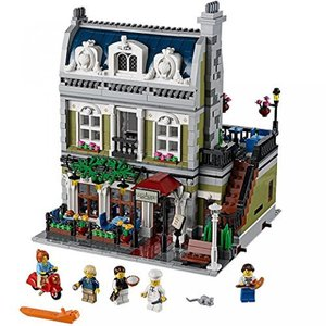 Includes 5 minifigures: chef, waiter, girl and a r...