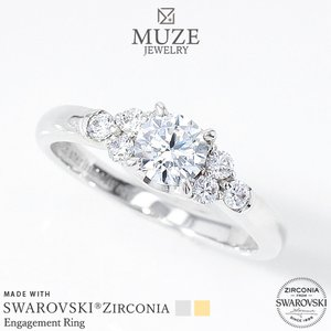 MUZE JEWELRY SWAROVSKI スワロフスキーリング 直径5mm(0.5ct相当)プラチナ仕上げ K18ゴールド仕上げ オーダーメイド エンゲージリング 指輪 スワロフスキー|soo-soo