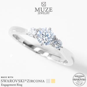 MUZE JEWELRY SWAROVSKI 指輪 0.33ct プラチナ仕上げ オーダーメイド プラチナ仕上げ K18ゴールド仕上げ エンゲージリング 婚約指輪 スワロフスキーリング|soo-soo
