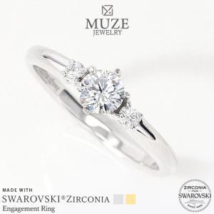 MUZE JEWELRY 指輪 SWAROVSKI 直径4.3mm(0.3ct相当) プラチナ仕上げ オーダーメイド K18ゴールド仕上げ エンゲージリング 婚約指輪 ストレートライン リング|soo-soo