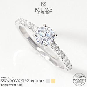 MUZE JEWELRY 指輪 SWAROVSKI 直径5mm(総0.89ct相当)プラチナ仕上げ オーダーメイド K18ゴールド仕上げ エンゲージリング 婚約指輪 ハーフエタニティ|soo-soo