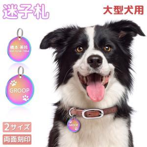 中・大型犬 迷子札 オーロラ 2サイズ ペット レインボー 虹色 オイルスリック 犬 猫 わんちゃん IDタグ ネームタグ 首輪 名前 タグ お名前&電話番号刻印 飼い主|soo-soo