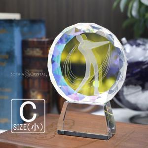 名入れ無料 記念品 トロフィー ゴルフ クリスタル クリスタルトロフィー 名入れ プレゼント 優勝 トロフィー コンペ ホールインワン 記念品 806C (小)|sophia-crystal
