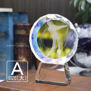 名入れ無料 記念品 トロフィー ゴルフ クリスタル クリスタルトロフィー 名入れ プレゼント 優勝 トロフィー コンペ ホールインワン 記念品 806A (大)|sophia-crystal