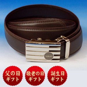 ギフトに最適 特許取得済み 快適ワンタッチベルト 6A-VC 茶スーツにも最適な紳士ベルト(ビジネスベルト対応)敬老 還暦祝い 父の日 誕生日 包装 ギフト・記|sophia-crystal