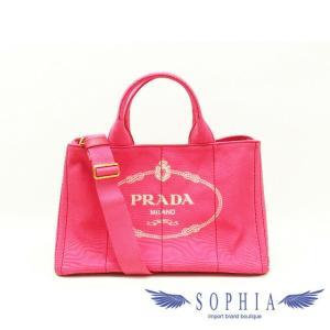 PRADA プラダ  カナパ 2WAYトートバッグ ショルダーバッグ ペオニア(ピンク) BN2642 キャンバス ハンドバッグ 斜め掛け ロゴプレート|sophianetshop