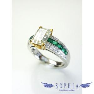 サザンクロス ダイヤモンドリング Pt900 K18 ダイヤ2.036ct エメラルド1.21ct 9号 新品同様|sophianetshop