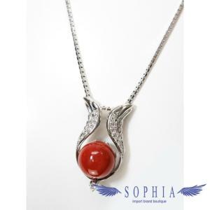 血赤珊瑚ネックレス pt900&850 ダイヤモンド0.27ct 2WAY サンゴ[J] sophianetshop
