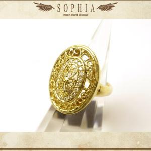 ダイヤ オーバルデザインリング 6.5号 K18YG|sophianetshop