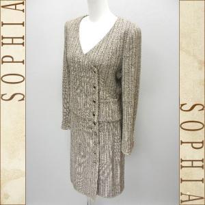 シャネル ツイード スーツ ベージュ/ブラウン/グレー系 ジャケットx巻きスカート サイズ38 03P|sophianetshop