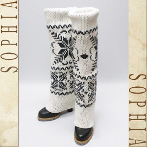 D&G ノルディック柄 ニットロングブーツ ホワイト サイズ38(24から24.5cm) レディース[4]|sophianetshop