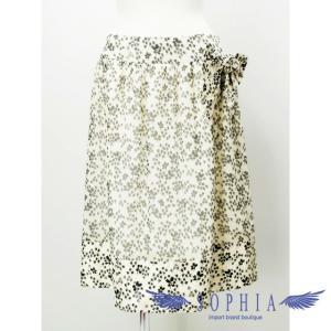 ルネ リボン付き 花柄シルクスカート オフホワイトxブラック[4]|sophianetshop