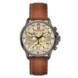 スイスミリタリー 腕時計 ML398 アロー クロノグラフ ブラウン レザーベルト メンズ (長期保証5年付)|sophias