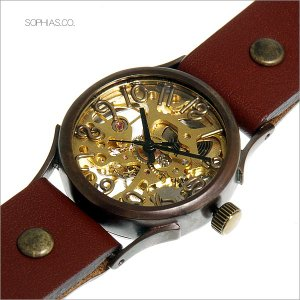 手作り腕時計 ヴィー vie WB-044-BR 機械式手巻き ブラウンレザー sophias
