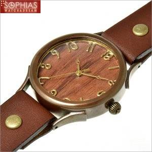 手作り腕時計 ヴィー vie WB-045L-BR-W2 クォーツ (電池式) ブビンガ文字盤 ブラウンレザー (Lサイズ) メンズ腕時計 sophias