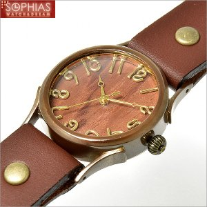 手作り腕時計 ヴィー vie WB-045M-BR-W2 クォーツ (電池式) ブビンガ文字盤 ブラウンレザー (Mサイズ) sophias