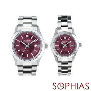 ペアウォッチ スイスミリタリー ML305&ML310 ペア腕時計 エレガント プレミアム ワインレッド (長期保証5年付)|sophias