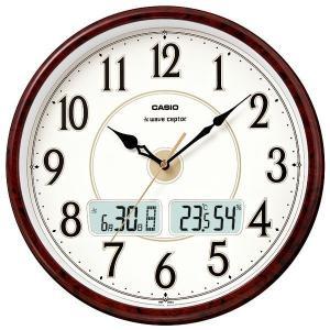 カシオ CASIO ITM-200J-5BJF デジタル/アナログ 電波掛け時計 温度・湿度計・カレンダー付き 茶木目調|sophias