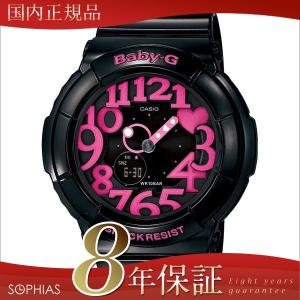 カシオ ベビーG BGA-130-1BJF ネオンダイアル 腕時計 ブラック×ピンク (長期保証8年付)|sophias
