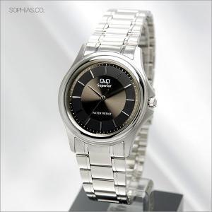 シチズン Q&Q W254-212 腕時計 ステンレスケース ブラック クォーツ メンズ腕時計|sophias