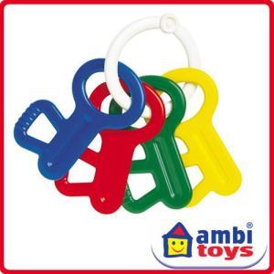 ●アンビトーイ 「ラトルキー」は 振るとラトルとしても楽しめる4色のカギ型の歯固めです。  歯固めと...