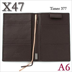 X47 ドイツ製 システム手帳 A6 タイマー シュリンクレザー ダークブラウン|soprano
