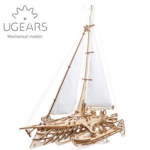 Ugears ユーギアーズ 木製組立立体パズル トリマランヨット soprano