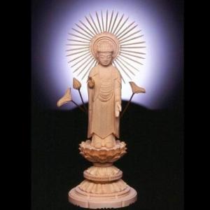 小型仏壇用 檜のご本尊 阿弥陀如来 (あみだにょらい) 放射光背 soprano