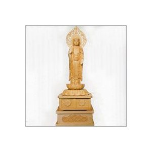 小型仏壇用 白木のご本尊 立像 阿弥陀如来 (下台付) soprano