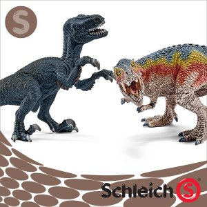 Schleich シュライヒ社フィギュア 42216 ティラノサウルス&ベロキラプトル 小  T-Rex and Velociraptor Small|soprano