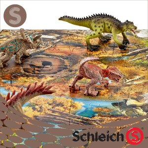 Schleich シュライヒ社フィギュア 42331 ミニ恐竜とジオラマパズルセット 湿原ゾーン Mini Dinosaurs with Marshland Puzzle|soprano
