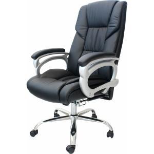リクライニング オフィスチェア 【Emblem】 肘付き ブラック レザーチェア ハイバックチェア パソコンチェア 42-460 椅子 キャスター付き ヤマソロ|sora-ichiban