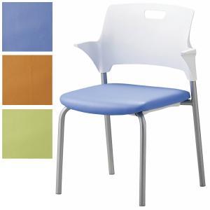 4脚セット 日本製 会議チェア 防汚・抗菌 レザー張り ミーティングチェア スタッキングチェア オフィス家具|sora-ichiban