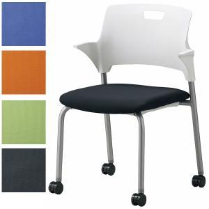4脚セット 日本製 会議チェア キャスター脚 布張り ミーティングチェア スタッキングチェア オフィス家具|sora-ichiban