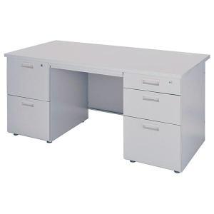 両袖 オフィスデスク 幅1400 ニューグレー色 2段袖+3段袖 事務机  GD-291|sora-ichiban