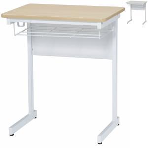 学習用デスク 幅600×奥行450×高700 ソフトエッジ仕様 棚・フック付き スクールデスク セミナーデスク 研修用 セミナー用 ナチュラル/ホワイト オフィス家具|sora-ichiban