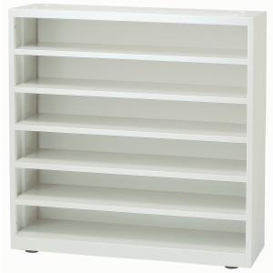 日本製 スリッパラック W900×D330×H900 6段 スチール製 ホワイト色 靴箱 シューズラック シューズボックス オフィス家具の写真