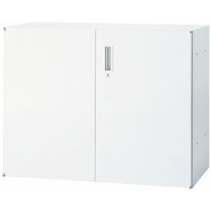 日本製 両開き キャビネット 上置 下置 鍵付き W900mm×D450mm×H702mm 書庫 棚 本棚 キャビネット 収納 ホワイト オフィス 事務所 オフィス家具|sora-ichiban