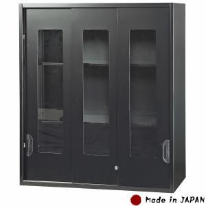 書庫 ガラス3枚引き戸 上置用 ブラック スチール製 W900×D450×H1050mm キャビネット オフィス書庫 スチール書庫 業務用 オフィス家具 完成品 車上渡し 日本製|sora-ichiban