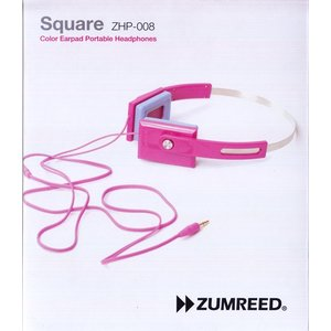 ZUMREED ズムリード Square ZHP-008 Color Earpad Portable Headphones 【Pink ピンク】【訳あり品】|sora3