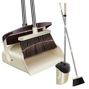 ほうき ちりとり 立て式掃除セット 蓋付き防臭 掃きこぼれにくいちりとり:収納 126cm調節可能ノブ付き 自立式 腰曲げずに掃除可能 室内 sorachip3