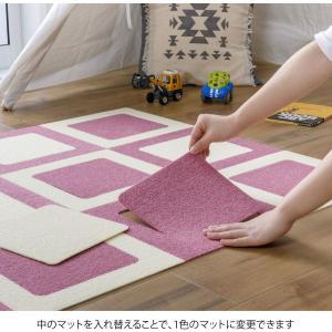 日本製 撥水 消臭 洗えるサンコー ずれない ジョイントマット 30×30cm ローズ クリーム 8枚 カーペットタイプ おくだけ吸着 PF|sorachip3