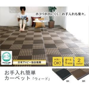 イケヒコ(IKEHIKO) ラグ カーペット ウィード ブラウン 江戸間2畳 約174×174cm 日本製 洗える 夏用 撥水 防ダニ 21|sorachip3