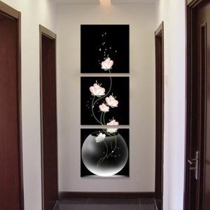 壁絵 花 絵画 壁掛け モダン 花 3枚 続き 絵 インテリア アート おしゃれ 額縁なし 50x50cm