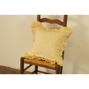 クッション 一点ものクッションカバー クッション付き 黄色小花柄 ガーリー|soranew