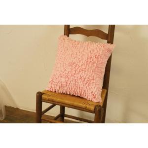 クッションカバー ピンクのフリフリ 立体花モチーフ柄|soranew