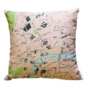 クッションカバー 45×45 地図柄 ロンドン アンティーク  かわいい|soranew