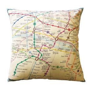 クッションカバー 45×45 地図柄 パリのメトロ路線図 シンプル&シック|soranew