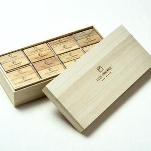 楠の端材で作った防虫アロマブロック エコブロック48個 桐箱入り soranew